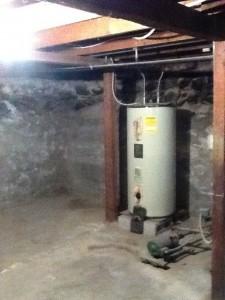 Old water heater in basement