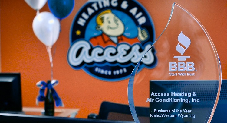 Access Heating and Air, a Boise hvac companu, has a glass award from BBB